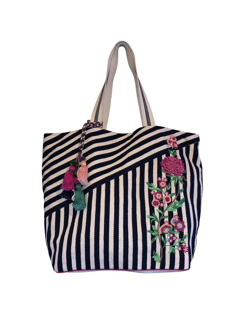 Chloe & Lex Tote-Embroidered Stripes & Tassels