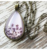 "Winter Garden Necklace-Botanical Teardrop, Queen Anne's Lace, Lavender, SILVER 18"" Chain"