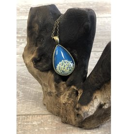 "Winter Garden Necklace-Botanical Teardrop, Queen Anne's Lace, White/Blue, BRASS 18"" Chain"