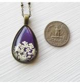 "Winter Garden Necklace-Botanical Teardrop, Queen Anne's Lace, White/Purple, BRASS 18"" Chain"