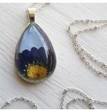 "Winter Garden Necklace-Botanical Teardrop, Pressed Daisy, Blue/Silver, SILVER 18"" Chain"