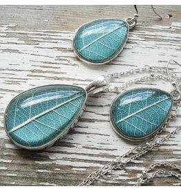 """Winter Garden Necklace & Earrings SET-Botanical Pressed Leaf Teardrop, Slate, SILVER 16"""" Chain"""