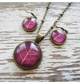 """Winter Garden Necklace & Earrings SET-Botanical Pressed Leaf Round, Pink, BRASS 16"""" Chain"""