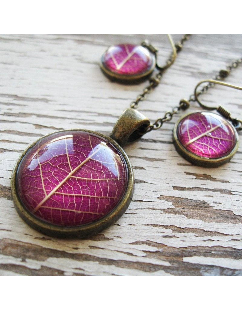 "Winter Garden Necklace & Earrings SET-Botanical Pressed Leaf Round, Pink, BRASS 16"" Chain"
