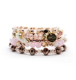 Savvy Blings Bracelet-(Stack of 5) Pink Pearl Savvy Bling