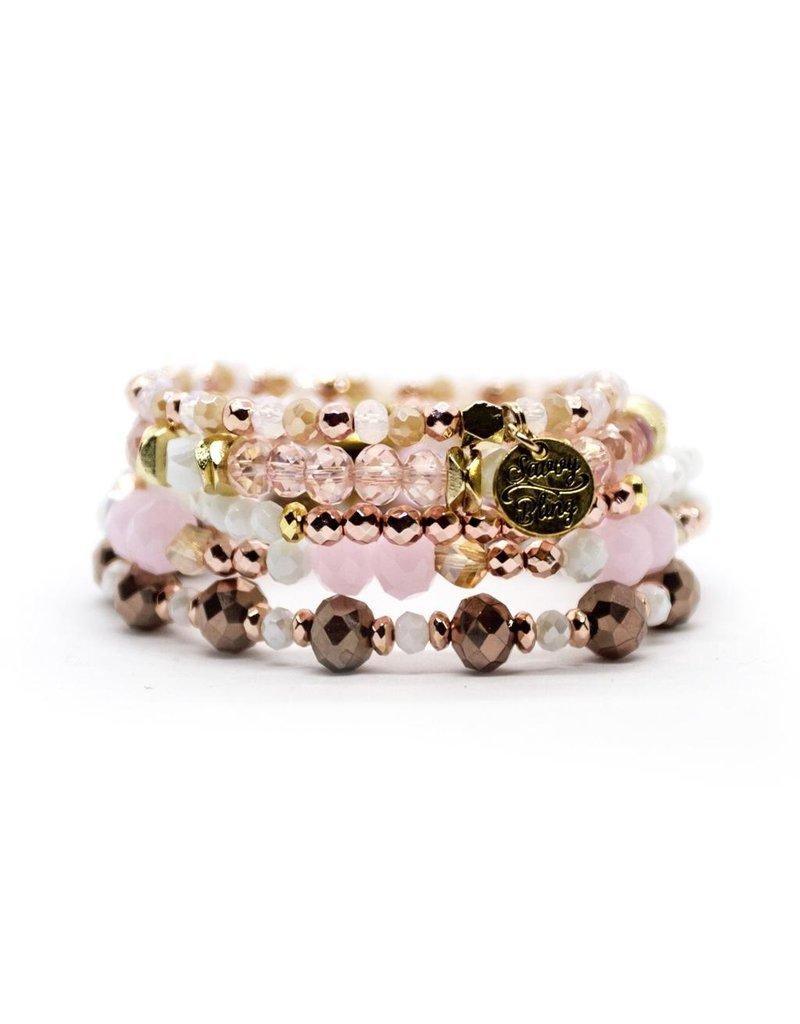 Savvy Blings Bracelet-(Stack of 5) Pink Pearl Savvy Bling