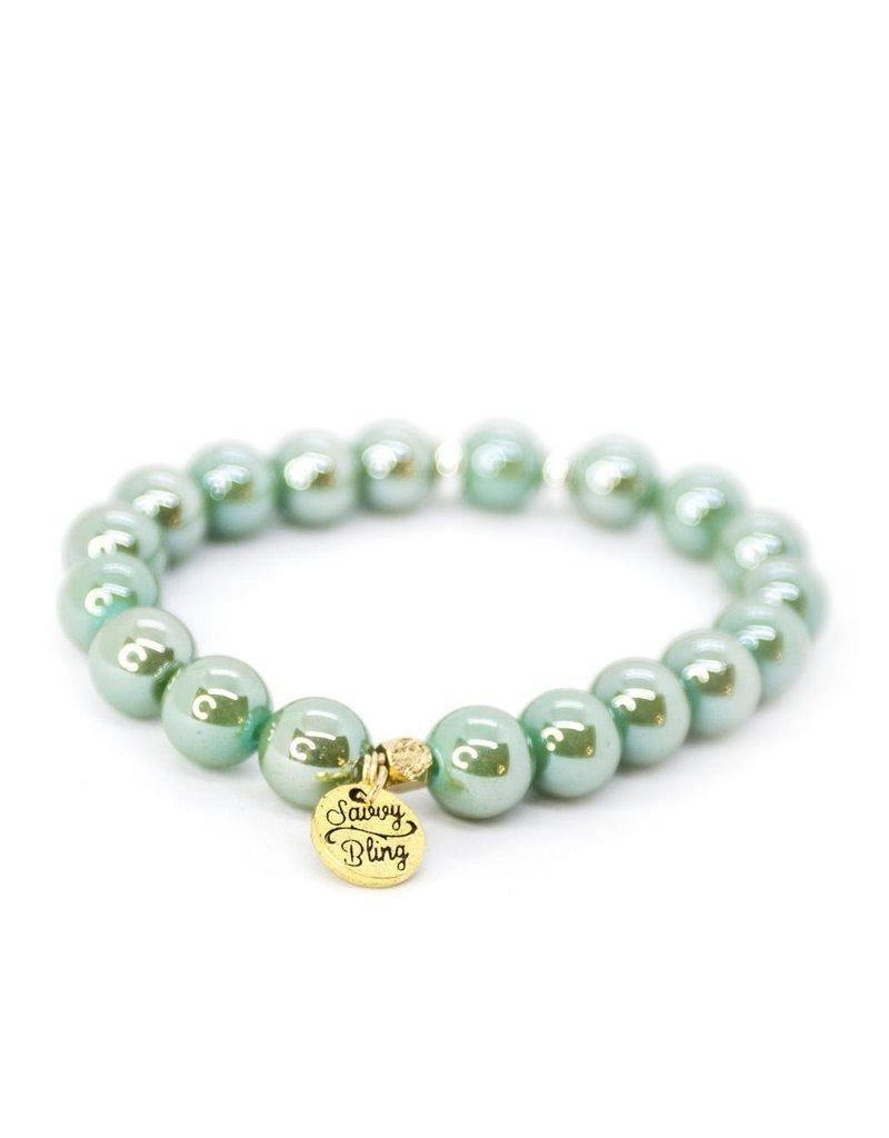 Savvy Blings Bracelet-(Stack of 5) Mint Swirl Savvy Bling