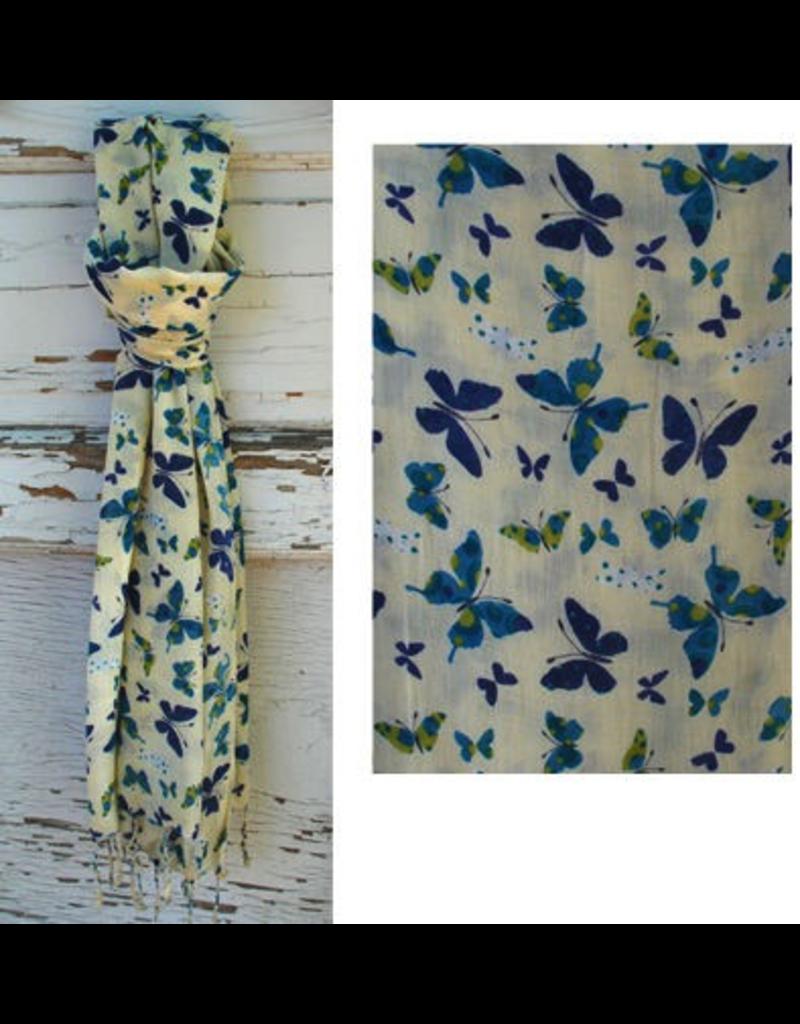Art Studio Company Scarf Fringed-White w/Butterflies