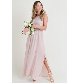 Doe & Rae Dress-Maxi Sleeveless, Cinch Waist, Lace Trim,