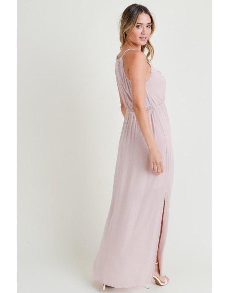 Doe & Rae Dress-Maxi Sleeveless, Cinch Waist, Lace Trim,