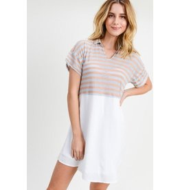 Doe & Rae Dress-Striped Mix Shirt, Collar & Short Sleeves