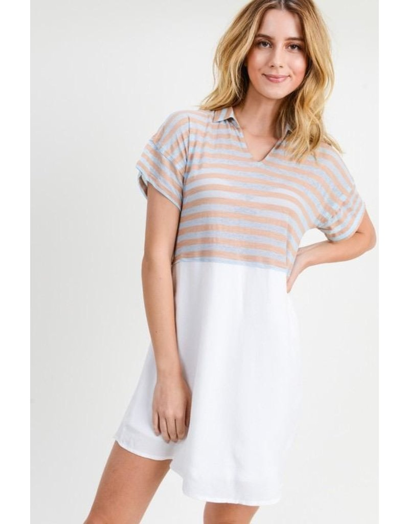 Doe & Rae Dress-Striped Mix Shirt, Collar & Short Sleeves