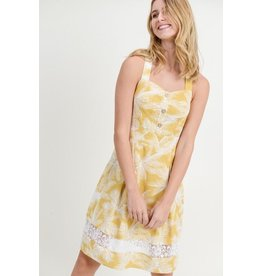 Doe & Rae Dress-Fit & Flare Cotton Dress w/ Lace & White Ferns
