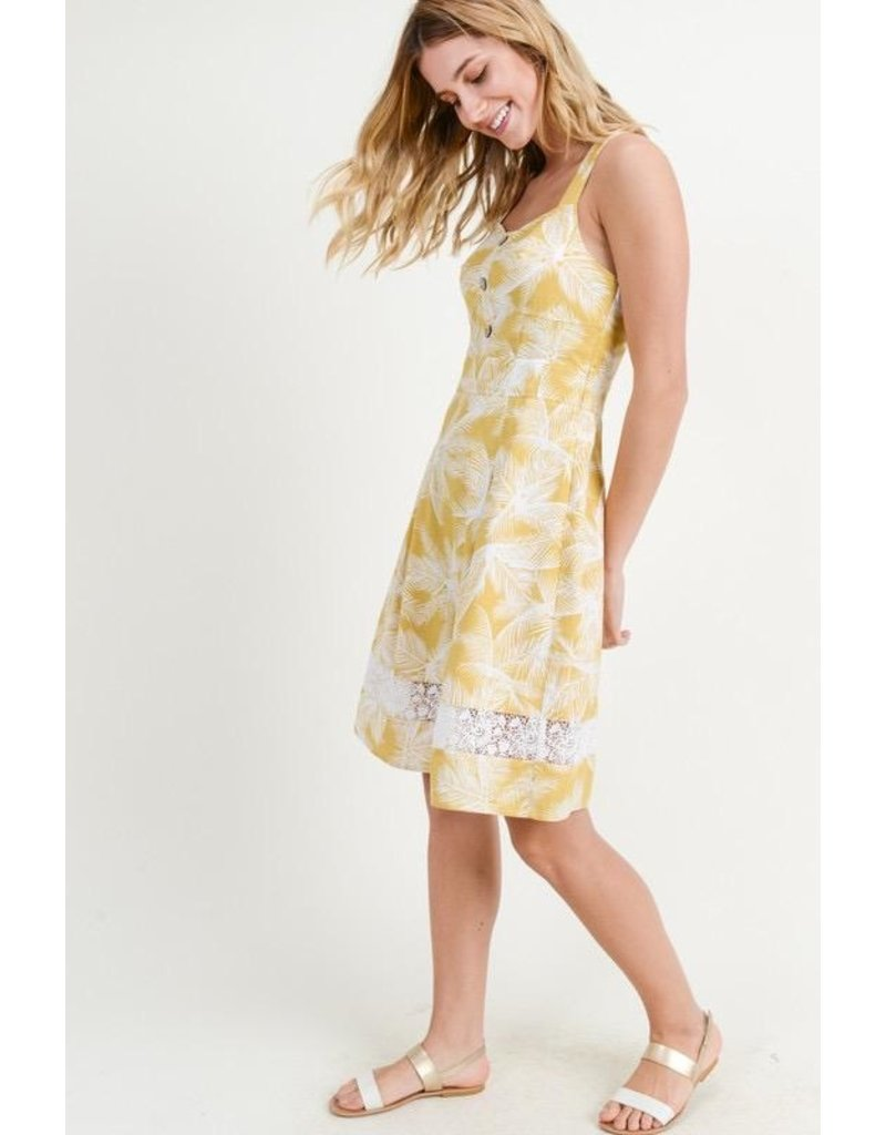 Doe & Rae Dress-Fit & Flare Cotton Dress w/ Lace & White Ferns