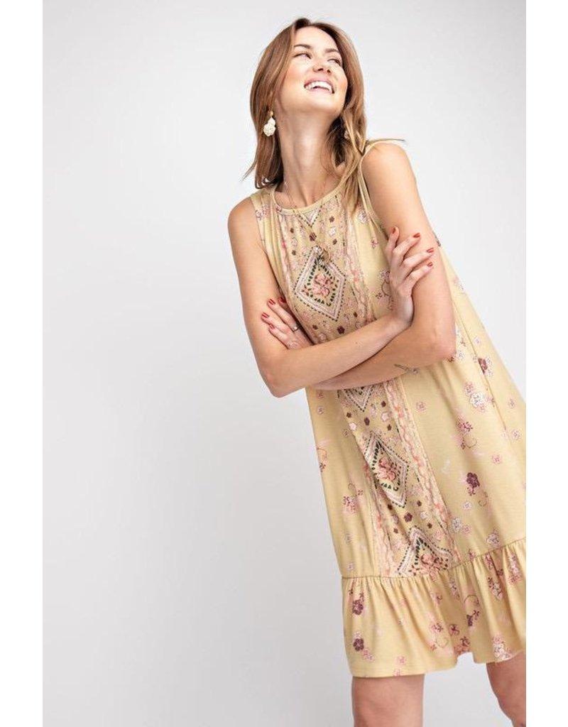 Easel Dress-Boho Aztec Print, Ruffle Hem