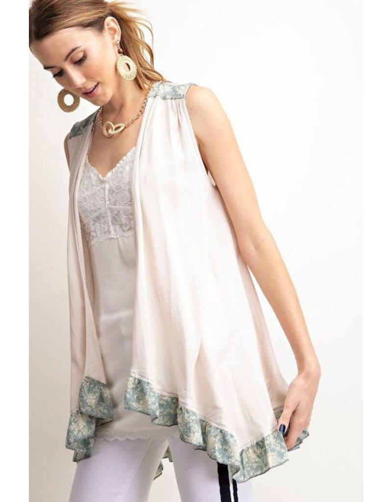 Easel Kimono Vest-Block Color w/Spray Print Ruffle