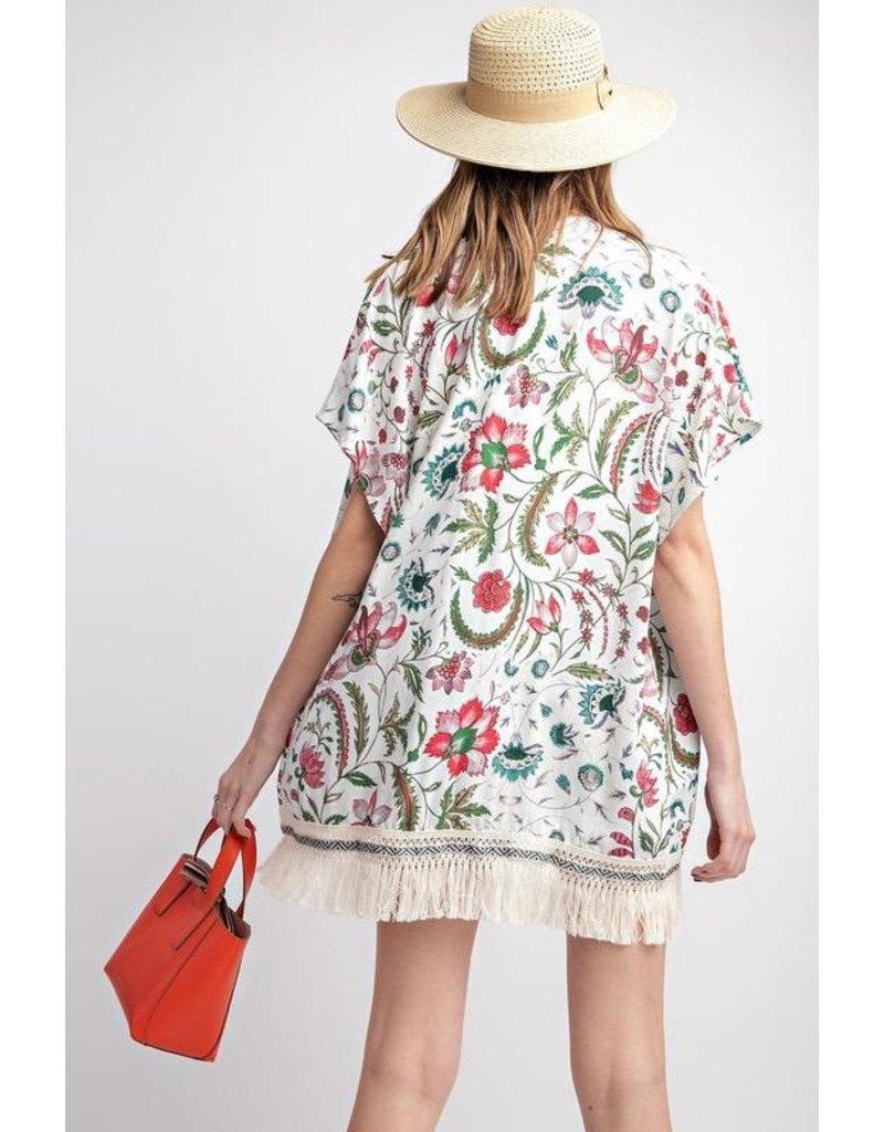 Easel Kimono-Floral Viscose Crepe w/Fringe Bottom