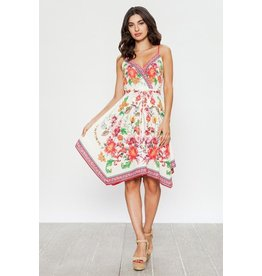 Flying Tomato Dress-Handkerchief Hem, Sleeveless, Pink Floral,