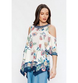 Flying Tomato Top-Cold Shoulder, Handkerchief Hem, Floral