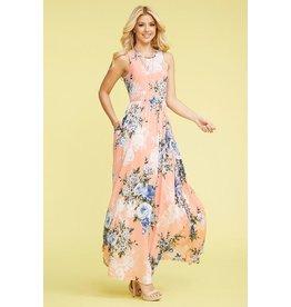 Dress-Maxi, Sleeveless Floral w/Pockets