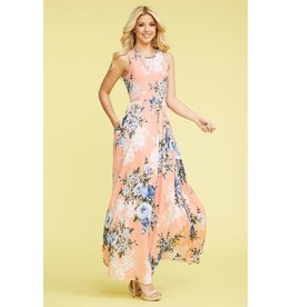 EG Fashion Dress-Maxi, Sleeveless Floral w/Pockets