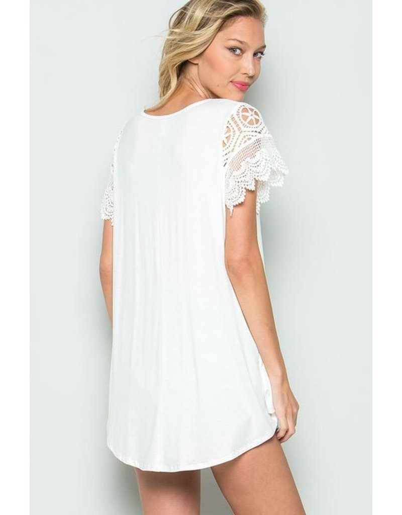 CY Fashion Top-Solid Smock w/Crochet Lace Short Sleeves