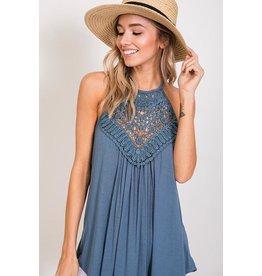 CY Fashion Top-Crochet Lace & Solid Tank w/Keyhole Back