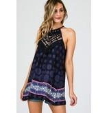 CY Fashion Top-Crochet Lace & Pattern Tank w/Keyhole Back