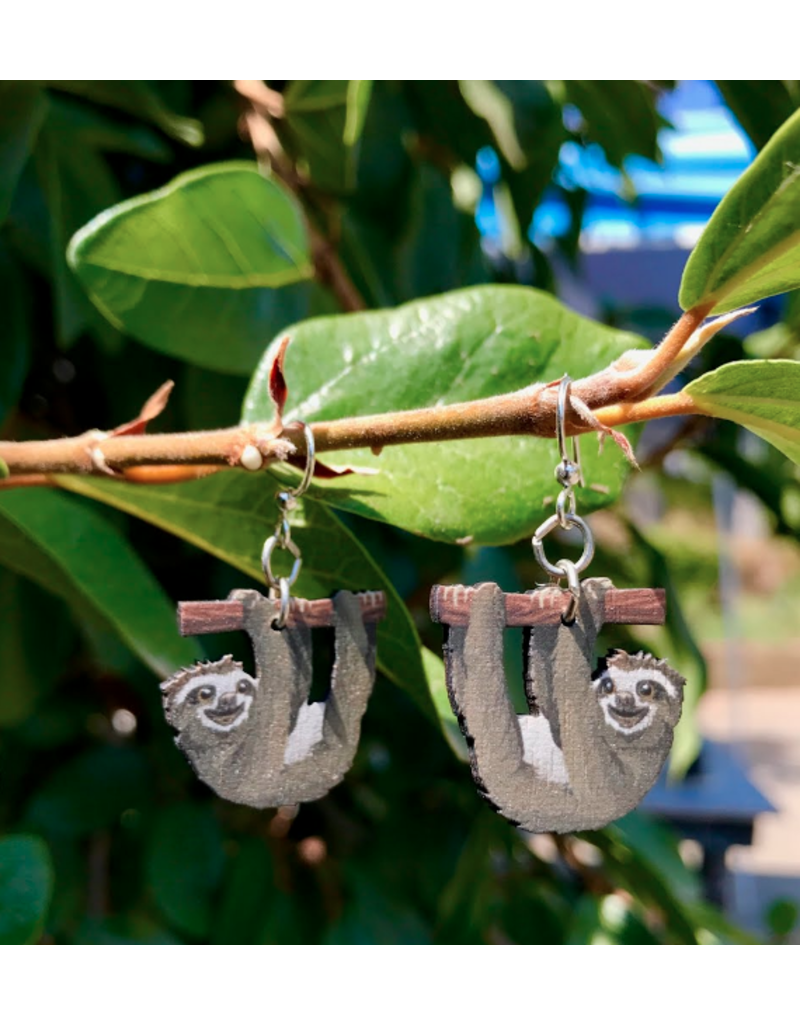 Green Tree Earrings Wood-Sloth Hanging
