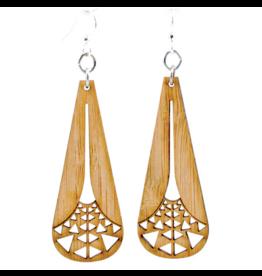 Green Tree Earrings Wood-Illuminating Triangle Bamboo