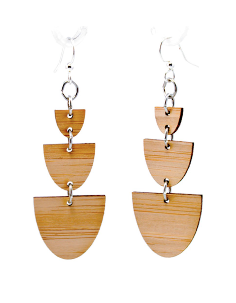 Green Tree Earrings Wood-Stacked 1/2 Stone Bamboo