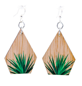 Green Tree Earrings Wood-Yucca Bamboo