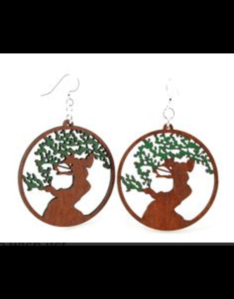 Green Tree Earrings Wood-Bonsai Tree