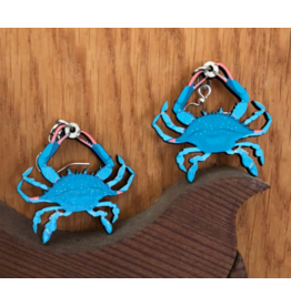 Green Tree Earrings Wood-Blue Crab