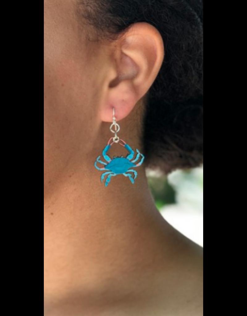 Green Tree Earrings Wood-Blue Crab