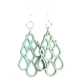 Green Tree Earrings Wood-Raindrop Blossoms