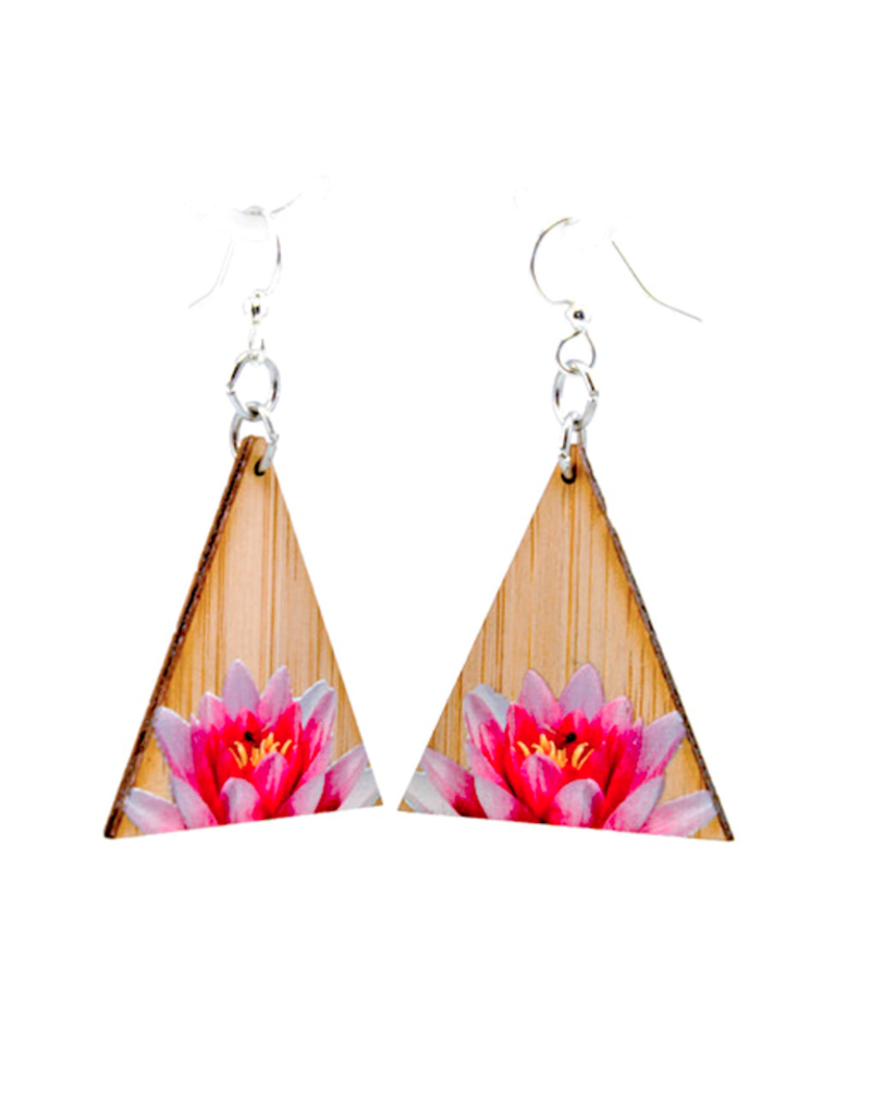 Green Tree Earrings Wood-Pinnacle Lotus Bamboo