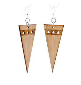 Green Tree Earrings Wood-Pointed Edge Bamboo