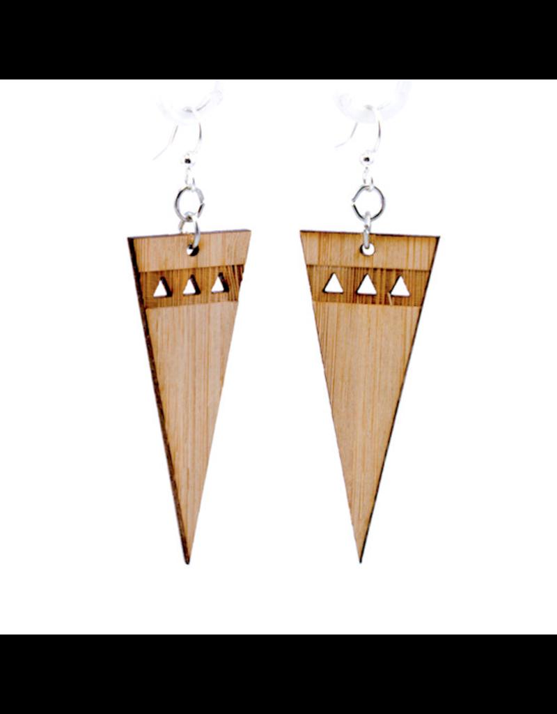 Green Tree Earrings Wood-Pointed Edge Bamboo
