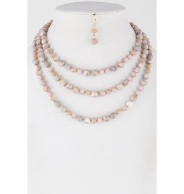 Necklace & Earrings SET-Layered Western Stone Beads  PINK