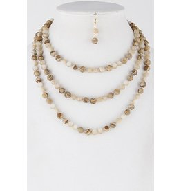 Necklace & Earrings SET-Layered Western Stone Beads  NATURAL