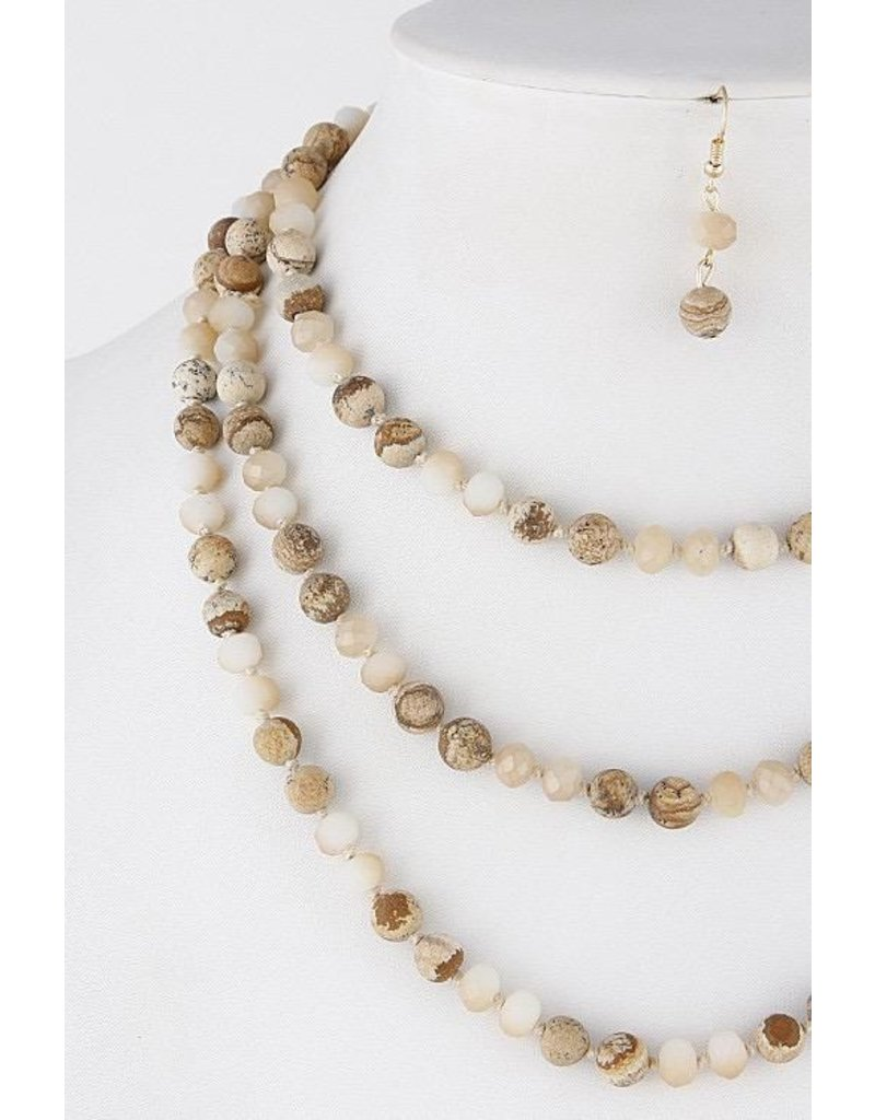 Anzell Fashion Necklace & Earrings SET-Layered Western Stone Beads  NATURAL