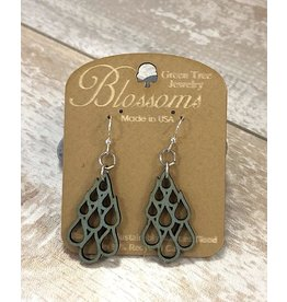 Green Tree Earrings Wood-Raindrop Blossoms