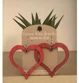 Green Tree Earrings Wood-Open Heart