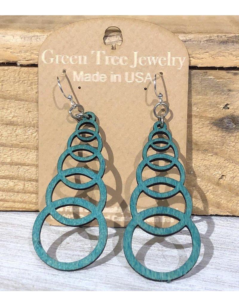 Green Tree Earrings Wood-Ascending Circle