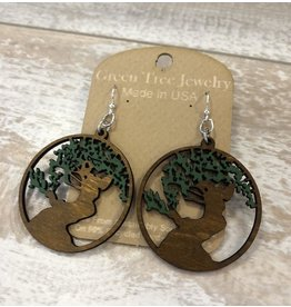 Green Tree Earrings Wood-Bonsai Tree