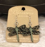 Green Tree Earrings Wood-Dragonfly Bossoms