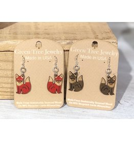 Green Tree Earrings Wood-FOX