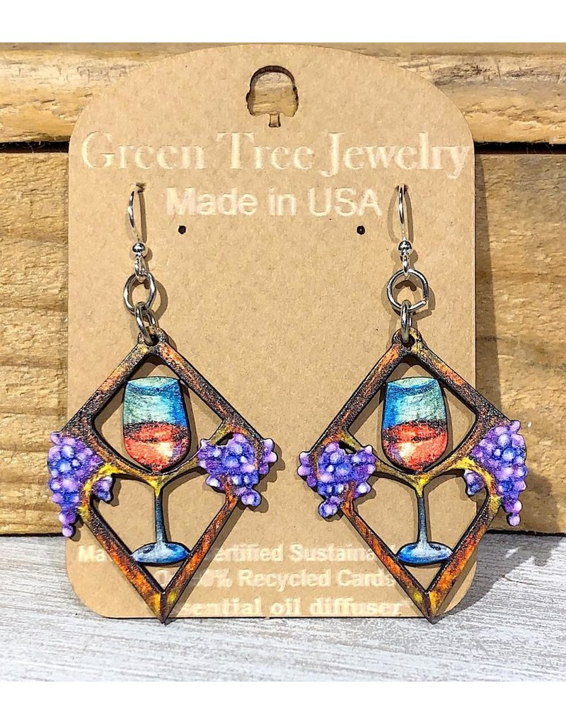 Green Tree Earrings Wood-Heart In Wine