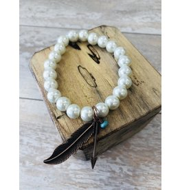 Turquoise Haven Bracelet-Pearl Stretch & Charm